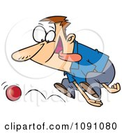 Clipart ADD Distracted Man Chasing A Ball Royalty Free Vector Illustration