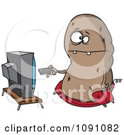 Clipart Fat Couch Potato Flipping Through Channels On The Tv Royalty Free Vector Illustration by toonaday