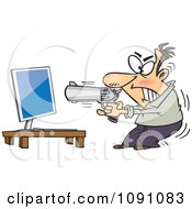 Clipart Enraged Man Ready To Commit Compucide Royalty Free Vector Illustration