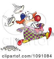 Clipart Clown Running From Pies Royalty Free Vector Illustration by Ron Leishman