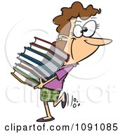 Clipart Librarian Or Heavy Reader Carrying A Large Stack Of Books Royalty Free Vector Illustration