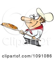 Clipart Pizza Man Holding A Pie Royalty Free Vector Illustration by Ron Leishman