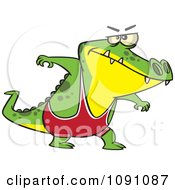 Clipart Wrestler Alligator Royalty Free Vector Illustration
