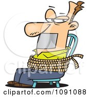 Clipart Man Gagged And Tied To A Chair Royalty Free Vector Illustration by toonaday