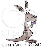 Clipart Aussie Kangaroo Holding A Flag Royalty Free Vector Illustration by toonaday
