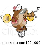 Clipart Stunt Bear Playing Music And Riding A Unicycle Royalty Free Vector Illustration by toonaday