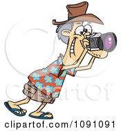 Clipart Male Tourist Snapping Photographs Royalty Free Vector Illustration