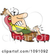 Clipart Man Resting His Wart Covered Foot Royalty Free Vector Illustration by toonaday