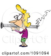 Clipart Woman Scorned Shooting A Bazooka Royalty Free Vector Illustration
