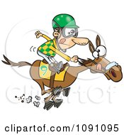 Clipart Jockey Man Racing A Horse Royalty Free Vector Illustration