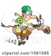 Jockey Man Racing A Horse