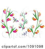 Clipart Dragonflies And Heliconia Flowers Royalty Free Vector Illustration by bpearth
