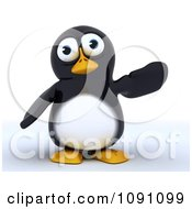 Clipart 3d Cute Penguin Gesturing To The Right Royalty Free CGI Illustration by KJ Pargeter