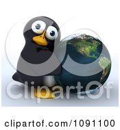 Clipart 3d Cute Penguin Hugging Earth Royalty Free CGI Illustration