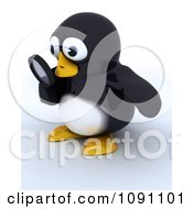 Clipart 3d Cute Penguin Looking Through A Magnifying Glass Royalty Free CGI Illustration by KJ Pargeter