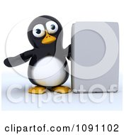 Clipart 3d Cute Penguin Presenting A Software Box Royalty Free CGI Illustration by KJ Pargeter
