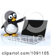 Clipart 3d Cute Penguin Opening A Laptop Royalty Free CGI Illustration by KJ Pargeter