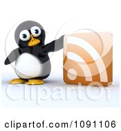 3d Cute Penguin With An RSS Symbol