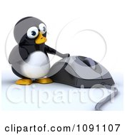 Clipart 3d Cute Penguin And A Large Computer Mouse Royalty Free CGI Illustration