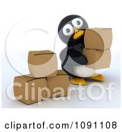 Clipart 3d Cute Penguin With Cardboard Boxes Royalty Free CGI Illustration