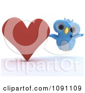 3d Blue Owl With A Red Valentine Heart