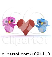 Clipart 3d Pink And Blue Owl Couple With A Red Valentine Heart Royalty Free CGI Illustration by KJ Pargeter