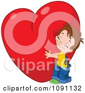 Clipart Cute Boy Hugging A Big Red Heart Royalty Free Vector Illustration