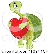 Sweet Tortoise Holding A Red Heart