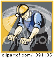 Clipart Retro Coal Miner Drilling Royalty Free Vector Illustration by patrimonio
