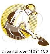 Clipart Retro Coal Miner With A Shovel And Lined Circle Royalty Free Vector Illustration