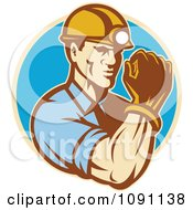 Clipart Retro Strong Male Miner Royalty Free Vector Illustration