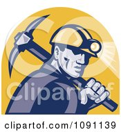 Retro Miner With A Pickaxe And Head Lamp