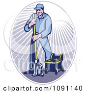 Clipart Retro Janitor Using A Mop In A Ray Oval Royalty Free Vector Illustration