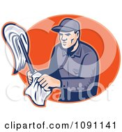 Clipart Retro Janitor Holding A Mop And Cloth Over An Orange Oval Royalty Free Vector Illustration