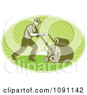 Clipart Retro Landscaper Oval Using A Lawn Roller Royalty Free Vector Illustration