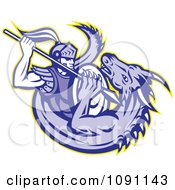 Clipart Retro Knight Spearing A Dragon Royalty Free Vector Illustration by patrimonio