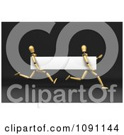 Clipart 3d Wooden Mannequins Running With A Blank White Banner Royalty Free CGI Illustration