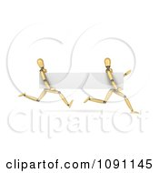 Clipart 3d Running Wooden Mannequins With A Blank Banner Royalty Free CGI Illustration