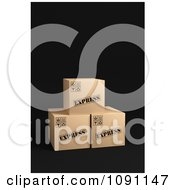Clipart 3d Cardboard Express Shipping Parcel Boxes Royalty Free CGI Illustration