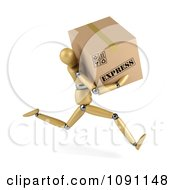 Clipart 3d Wooden Manequin Running With An Express Shipping Box Royalty Free CGI Illustration