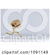 Clipart 3d Wooden Manequin Running With An Express Order Box Royalty Free CGI Illustration
