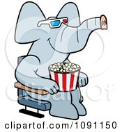 Elephant Eating Popcorn And Watching A 3d Movie At The Theater