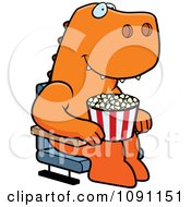 Clipart Happy T Rex With Popcorn At The Movie Theater Royalty Free Vector Illustration