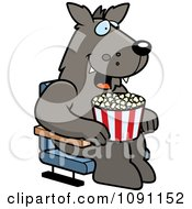 Clipart Happy Wolf With Popcorn At The Movie Theater Royalty Free Vector Illustration