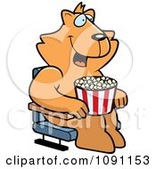 Clipart Happy Cat With Popcorn At The Movie Theater Royalty Free Vector Illustration