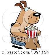 Happy Dog With Popcorn At The Movie Theater