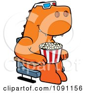 Clipart T Rex Eating Popcorn And Watching A 3d Movie At The Theater Royalty Free Vector Illustration
