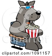 Clipart Wolf Eating Popcorn And Watching A 3d Movie At The Theater Royalty Free Vector Illustration