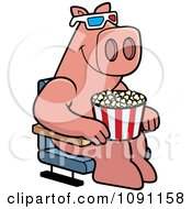 Clipart Pig Eating Popcorn And Watching A 3d Movie At The Theater Royalty Free Vector Illustration