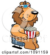 Clipart Lion Eating Popcorn And Watching A 3d Movie At The Theater Royalty Free Vector Illustration